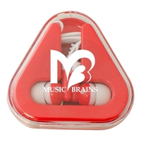 Picture of Custom Printed Ear Buds with Colored Triangle Case