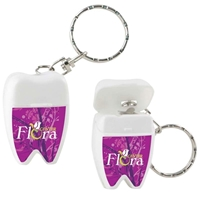Picture of Custom Printed Tooth Shaped Dental Floss with Keychain