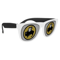 Picture of Custom Printed White Frame Rubberized Logo Lenses Sunglasses