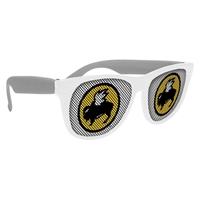 Picture of Custom Printed White Frame Rubberized Logo Lenses Sunglasses