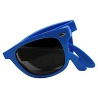 Blue Imprinted Folding Sunglasses