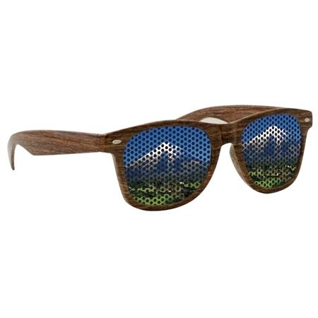 Promotional Wood Grain Logo Lense Sunglasses