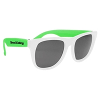 Customized White Frame Rubberized Sunglasses