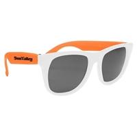 Customizable White Frame Rubberized Sunglasses