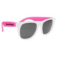 Promotional White Frame Rubberized Sunglasses