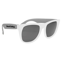 White Frame Rubberized Sunglasses imprinted with your logo