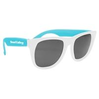 Imprinted White Frame Rubberized Sunglasses