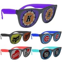 Picture of Custom Printed Black Frame Rubberized Logo Lenses Sunglasses