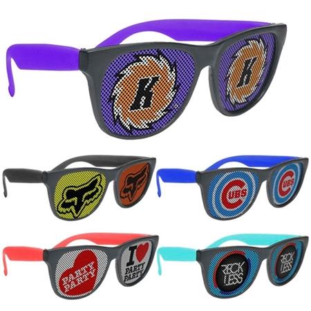 Picture of Custom Printed Black Frame Rubberized Logo Lenses Sunglasses