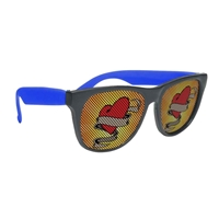 Customized Black Frame Rubberized Logo Lenses Sunglasses