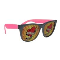 Promotional Black Frame Rubberized Logo Lenses Sunglasses