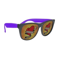 Imprinted Black Frame Rubberized Logo Lenses Sunglasses