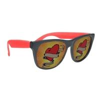 Custom Black Frame Rubberized Logo Lenses Sunglasses
