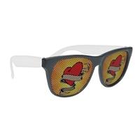 Custom Printed Black Frame Rubberized Logo Lenses Sunglasses