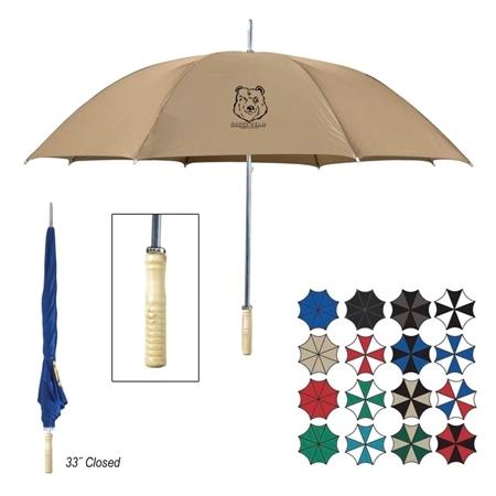 "Wood Handle Branded 48"" Umbrella"