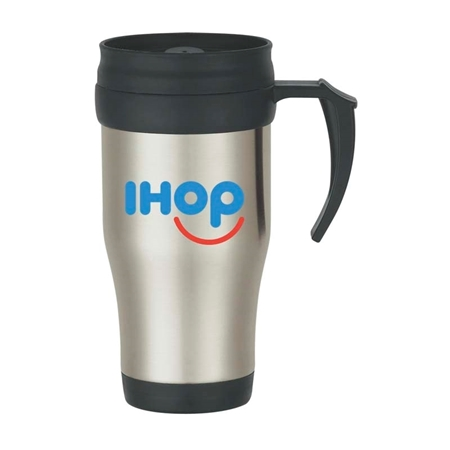 Picture of Custom Printed 16 oz. Stainless Steel Travel Mug With Slide Action Lid And Plastic Inner Liner