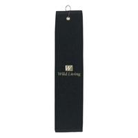 Black Imprinted Golf Towel