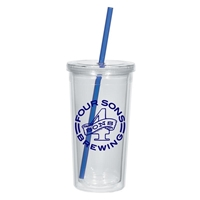 24 oz. Imprinted Tumbler With Straw