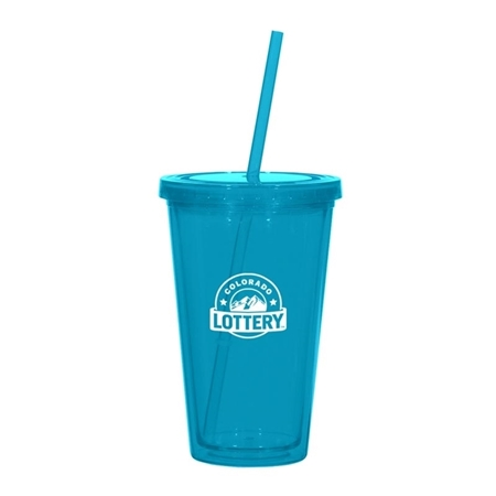 Picture of Custom Printed 16 oz. Double Wall Acrylic Tumbler With Straw