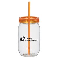 25 oz. Custom Mason Jar With Matching Straw