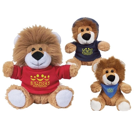 "Picture of Custom Printed 6"" Lovable Lion Plush Animal"