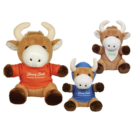 "Picture of Custom Printed 8.5"" Brave Bull Plush Animal"