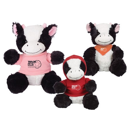 "Picture of Custom Printed 8.5"" Cuddly Cow Plush Animal"