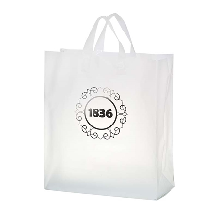"""Picture of Custom Foil Stamped Frosted Loop Bag - 16"""" W x 18"""" H x 6"""" D"""