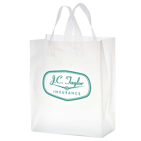 """Picture of Custom Flexograph Frosted Loop Shopper Bag - 8"""" W x 11"""" H x 4"""" D"""