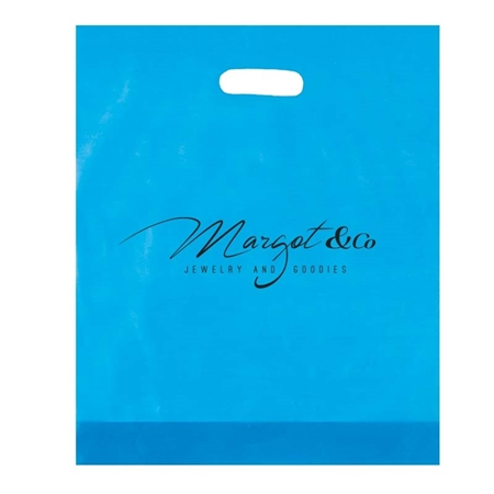 "Picture of Custom Flexograph Frosted  Die Cut Bag - 12"" W x 15"" H x 3"" D"