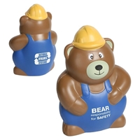 Picture of Custom Printed Construction Worker Bear Stress Ball