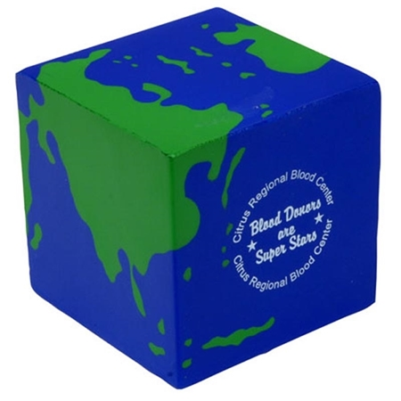 Picture of Custom Printed Earth Cube Stress Ball