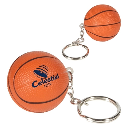 Imprinted Basketball Key Chain Stress Ball