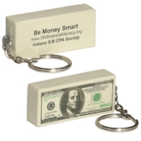 Picture of Custom Printed $100 Bill Key Chain Stress Ball