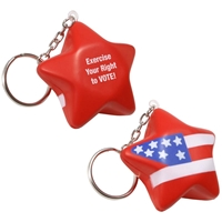 Picture of Custom Printed Patriotic Star Key Chain Stress Ball