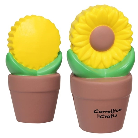Picture of Custom Printed Sunflower In Pot Stress Ball