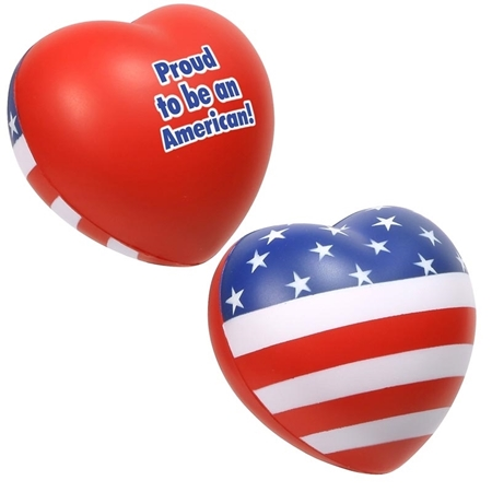 Picture of Custom Printed Patriotic Valentine Heart Stress Ball