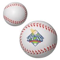 White Branded Custom Baseball Stress Ball