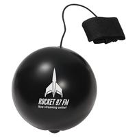 Black Imprinted Yo-Yo Bungee Stress Ball