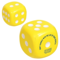 Yellow Imprinted Dice Stress Ball