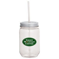 Picture of Custom Printed Mason Jars 22-oz. with Silver Tin Lid