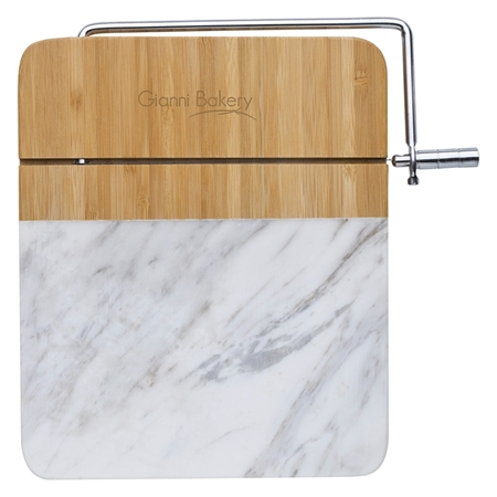 Picture of Custom Marble & Bamboo Cheese Cutting Board with Slicer