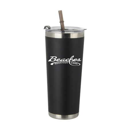 Custom Black 20oz Stainless Steel Straw Bottle