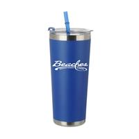 Promotional Matte Blue 20oz Stainless Steel Straw Bottle