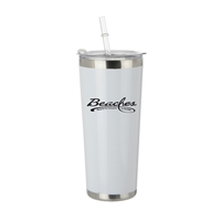 Promotional White 20oz Straw Bottle in Stainless Steel