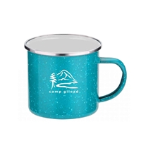 Promotional Teal 16 oz. Iron & Stainless Steel Camping Mug