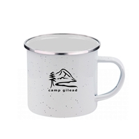 Custom Printed 16 oz. White Iron & Stainless Steel Camping Mug