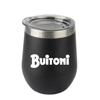 Promotional Black 12oz. Stemless Wine Glass with Stainless Steel Band