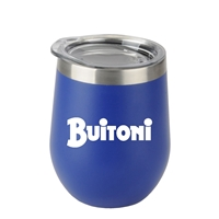 Custom Imprinted Blue 12oz. Stemless Wine Glass with Stainless Steel Band