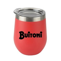 Custom 12oz. Stemless Wine Glass with Stainless Steel Band in Red